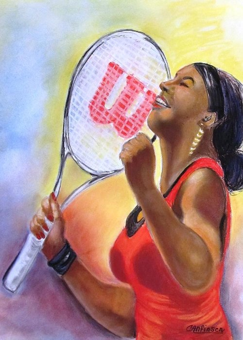 Serena Greeting Card featuring the drawing Serena Shines by Carol Allen Anfinsen