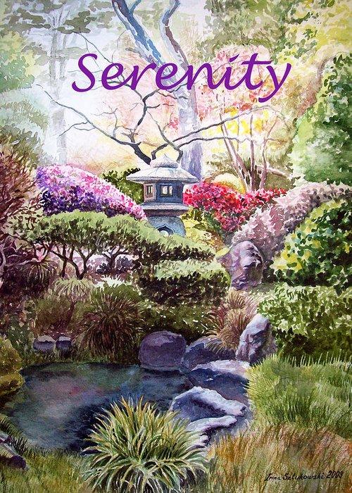Affirmation Greeting Card featuring the painting Serenity by Irina Sztukowski