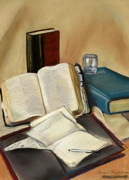 Old Open Bible Greeting Card featuring the pastel Sermon Preparation by Rita Lackey