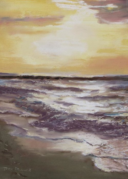 Sunset Greeting Card featuring the painting Sesuit Sunset by Jack Skinner