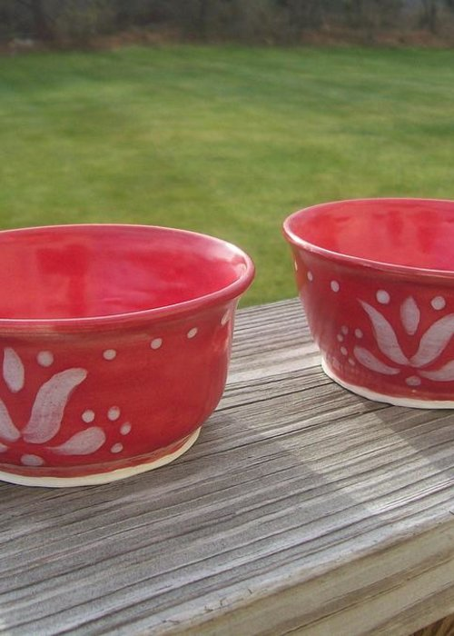 Bowl Greeting Card featuring the ceramic art Set Of Small Red Bowls by Monika Hood