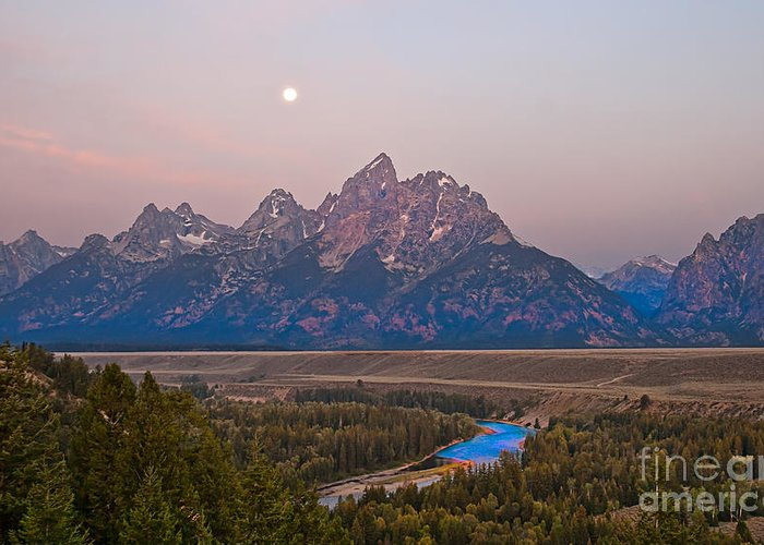 Grand Teton Greeting Card featuring the photograph Setting Moon by Robert Bales