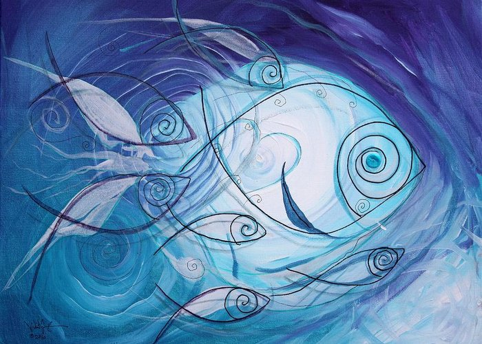 Fish Greeting Card featuring the painting Seven Ichthus And A Heart by J Vincent Scarpace