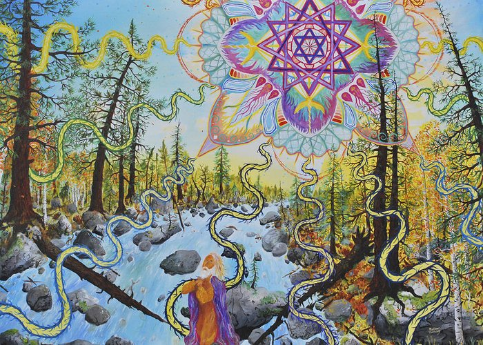 Psychedelic Greeting Card featuring the painting Seven Times Seventy by Matthew Fredricey
