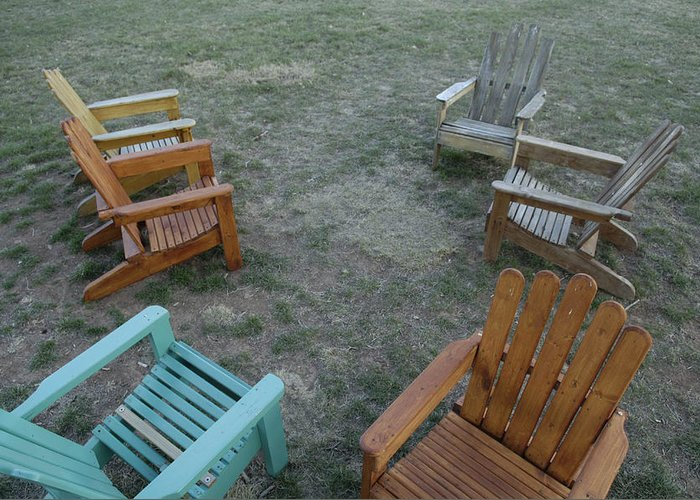 Photography Greeting Card featuring the photograph Several Lawn Chairs Scattered by Joel Sartore