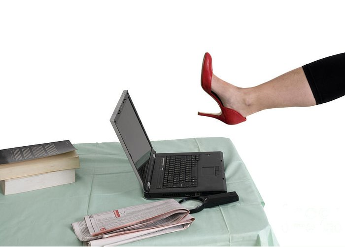 Technology Greeting Card featuring the photograph Sexy Woman Kicks A Laptop by Ilan Rosen