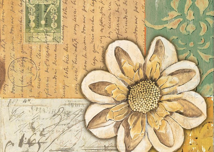 Flower Greeting Card featuring the painting Shabby Chic Floral 2 by Debbie DeWitt