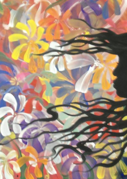 Shadow Greeting Card featuring the painting Shadow Flower by Hollie Leffel