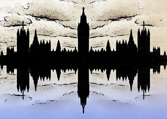 London Greeting Card featuring the digital art Shadow Goverment by Sharon Lisa Clarke
