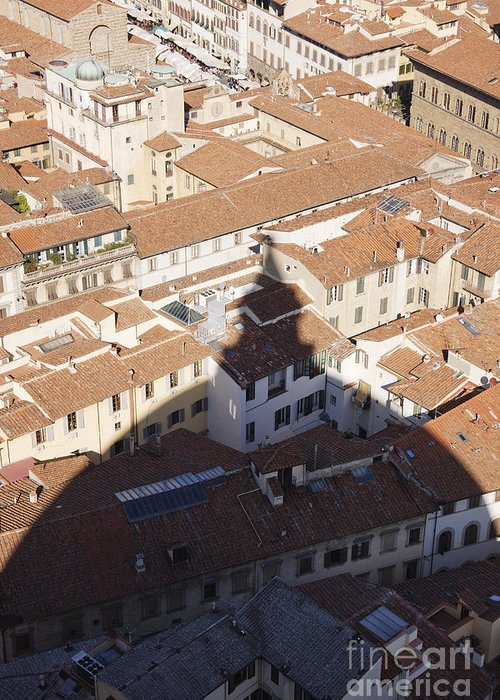 Apartment Greeting Card featuring the photograph Shadow Of The Duomo On Buildings Of Florence by Jeremy Woodhouse