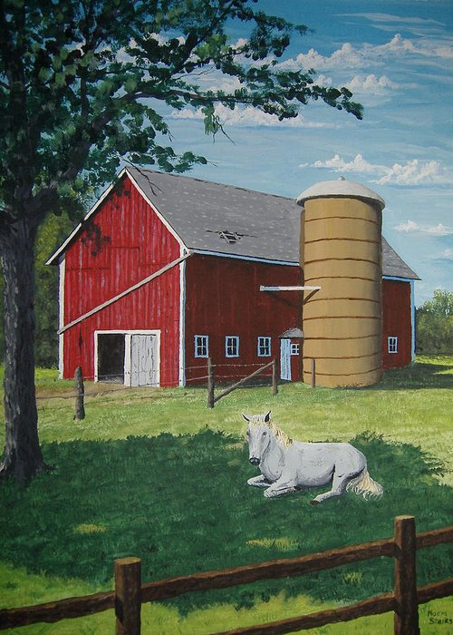 Landscape Greeting Card featuring the painting Shady Rest by Norm Starks