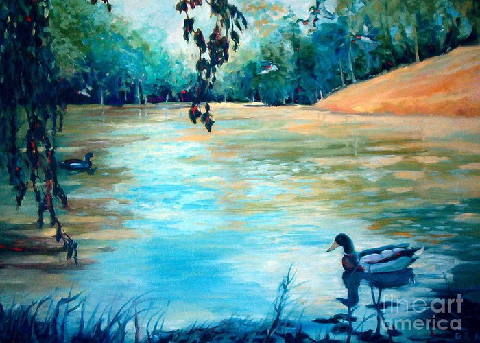 Mallard Greeting Card featuring the painting Shady Springs Pond by Gretchen Allen