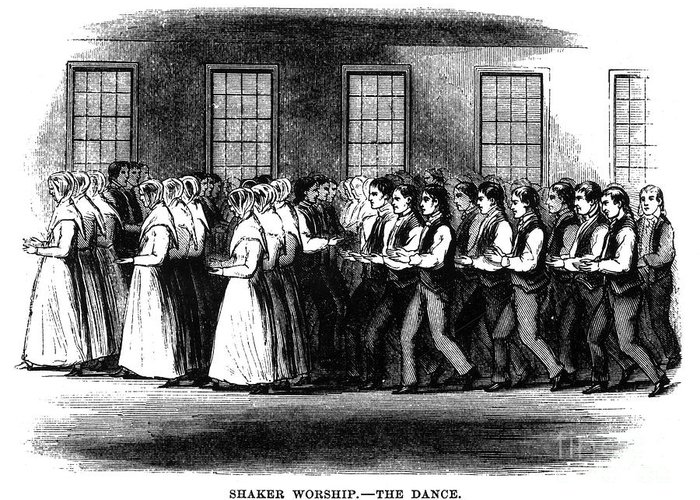 1875 Greeting Card featuring the photograph Shaker Worship by Granger