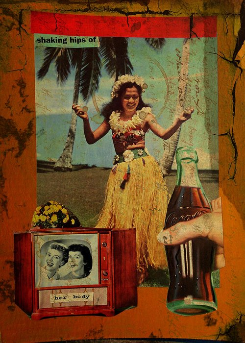 Girl Greeting Card featuring the mixed media Shaking Hips by Adam Kissel