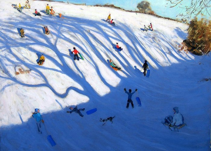 Sledge Greeting Card featuring the painting Shandows On A Hill Monyash by Andrew Macara