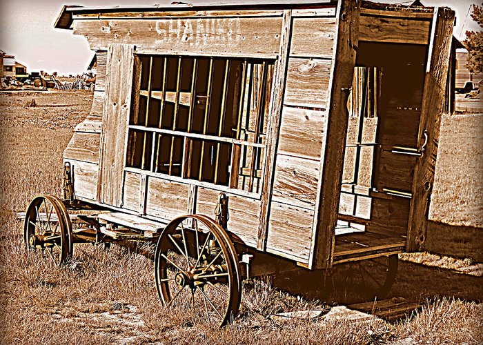 Cindy Wright Greeting Card featuring the photograph Shaniko Paddy Wagon by Cindy Wright