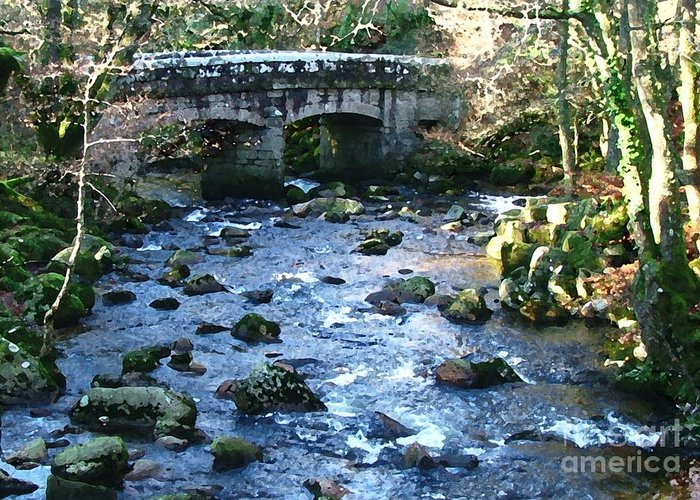 Bridge Greeting Card featuring the digital art Shaugh Prior Bridge by Ron Telford