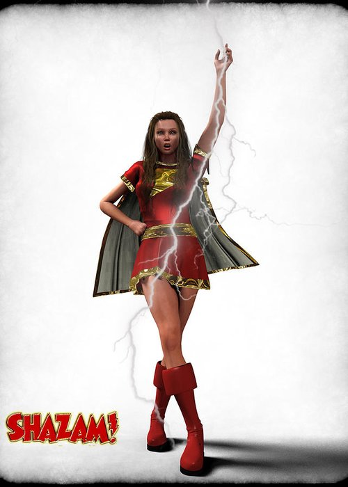 Super Heroe Greeting Card featuring the digital art Shazam - Mary Marvel by Frederico Borges