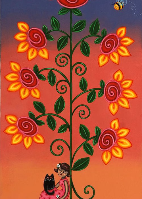 Flowering Tree Greeting Card featuring the painting She Is Life by Victoria De Almeida
