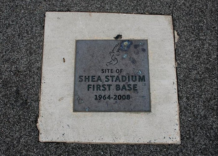 Shea Stadium Greeting Card featuring the photograph Shea Stadium First Base by Rob Hans