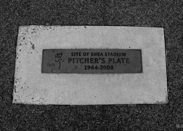 Shea Stadium Greeting Card featuring the photograph Shea Stadium Pitchers Mound In Black And White by Rob Hans