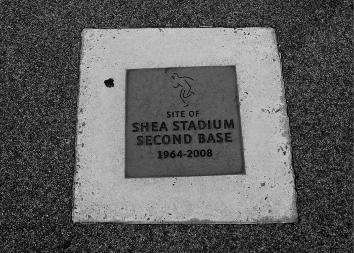 Shea Stadium Greeting Card featuring the photograph Shea Stadium Second Base by Rob Hans