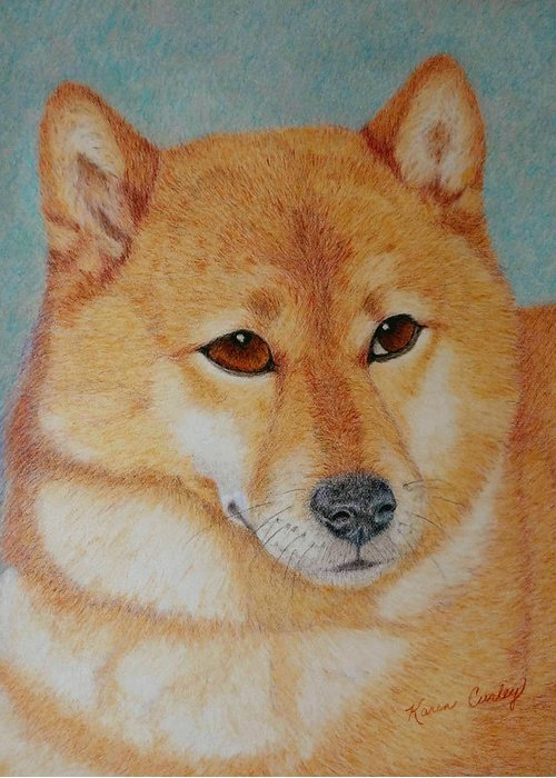 Shiba Inu Greeting Card featuring the painting Sheba Inu by Karen Curley