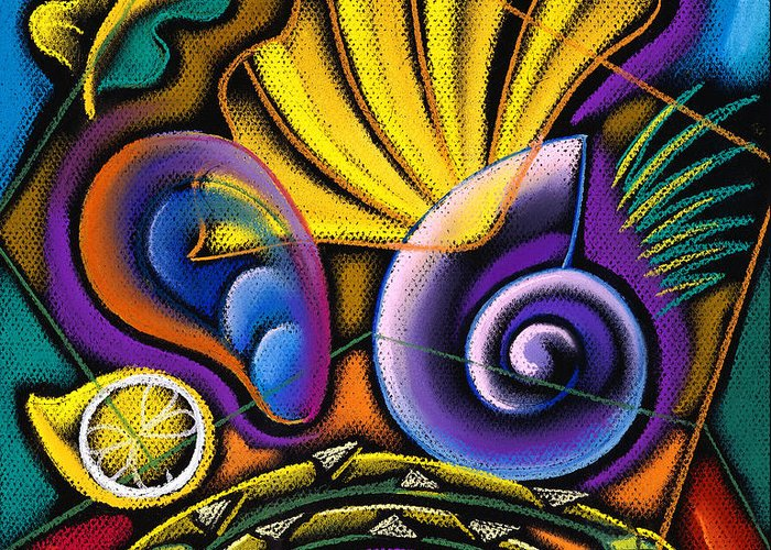 Blue Choice Clam Clams Close-up Colour Fish Fishing Food And Drink Freshness Gourmet Horizontal Illustration And Painting Indulgence Lobster Medium Group Of Animals Mussel Mussels Nobody Ocean Paella Salmon Sea Seafood Shell Shellfish Shrimp Trout Variation Water Decorative Art Abstract Painting Greeting Card featuring the painting Shellfish by Leon Zernitsky