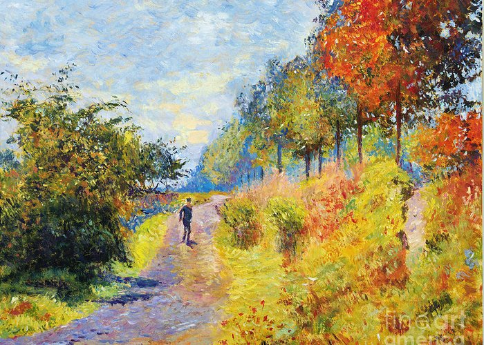 Landscape Greeting Card featuring the painting Sheltered Path - Sur Les Traces De Monet by David Lloyd Glover