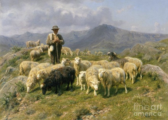 Shepherd Of The Pyrenees Greeting Card featuring the painting Shepherd Of The Pyrenees by Rosa Bonheur