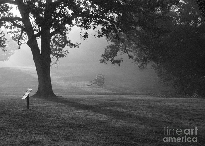 Shiloh Greeting Card featuring the photograph Shiloh In The Fog by David Bearden