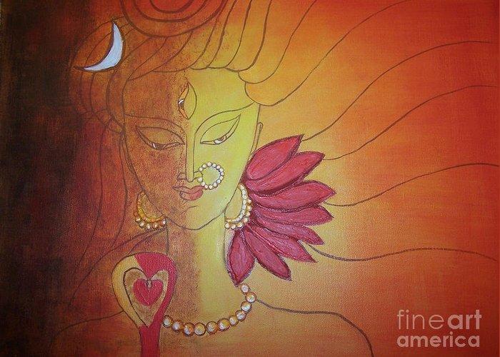 Canvas Greeting Card featuring the painting Shivshakti - Ardhnaarishwar by Anu Darbha