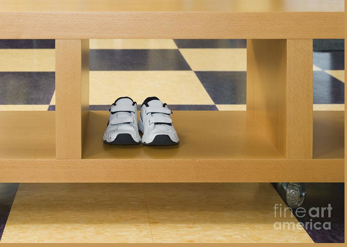 Apartment Greeting Card featuring the photograph Shoes In A Shelving Unit by Andersen Ross