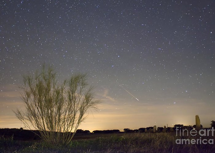 Dark Greeting Card featuring the photograph Shooting Star by Andre Goncalves