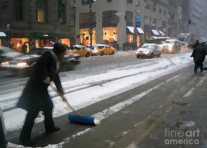 Madison Avenue Greeting Card featuring the photograph Shoveling Madison Avenue by Anne Ferguson