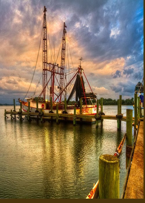 Cloud Greeting Card featuring the photograph Shrimp Boat At Sunset by Debra and Dave Vanderlaan