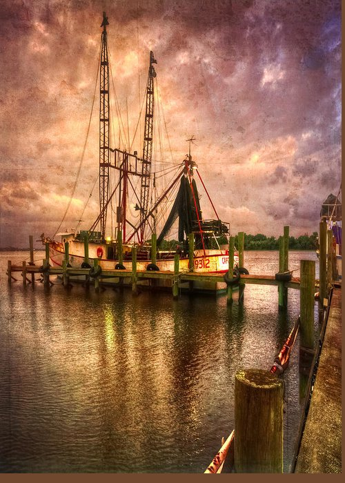 Boats Greeting Card featuring the photograph Shrimp Boat At Sunset II by Debra and Dave Vanderlaan