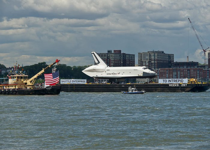 Space Shuttle Greeting Card featuring the photograph Shuttle Enterprise Flag Escort by Gary Eason