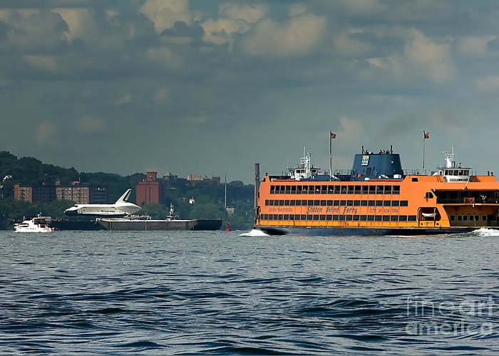 Space Shuttle Greeting Card featuring the photograph Shuttle Enterprise Glides Past Staten Island Ferry by Tom Callan