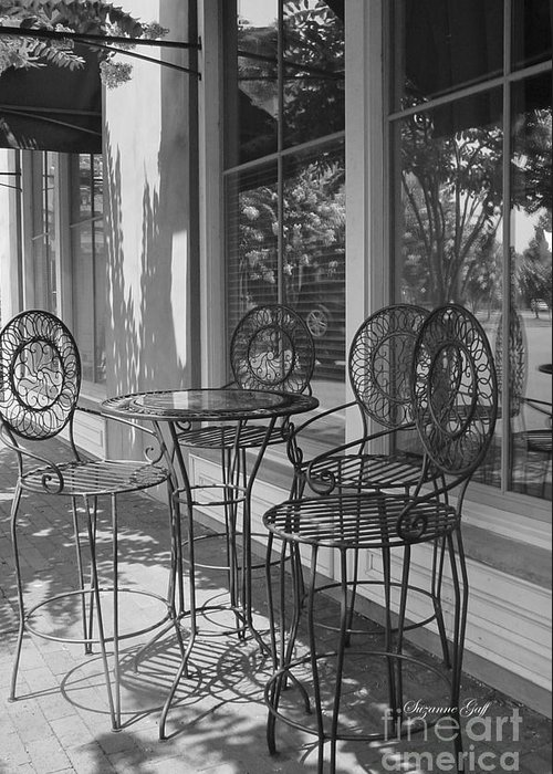 Black And White Greeting Card featuring the photograph Sidewalk Cafe - Afternoon Shadows by Suzanne Gaff