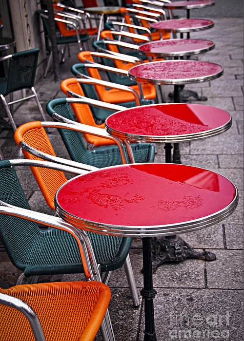 Cafe Greeting Card featuring the photograph Sidewalk Cafe In Paris by Elena Elisseeva