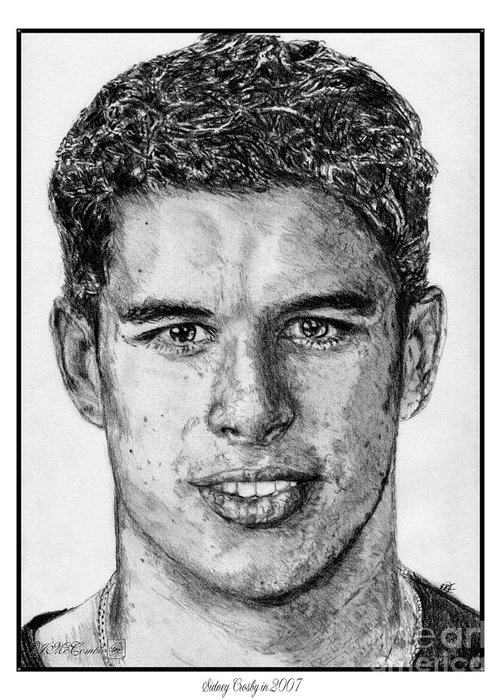 Sidney Crosby Greeting Card featuring the drawing Sidney Crosby In 2007 by J McCombie