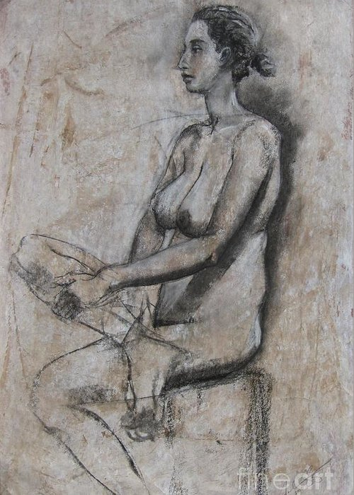 Nude Greeting Card featuring the drawing Sienna Ravenna by Julianna Ziegler
