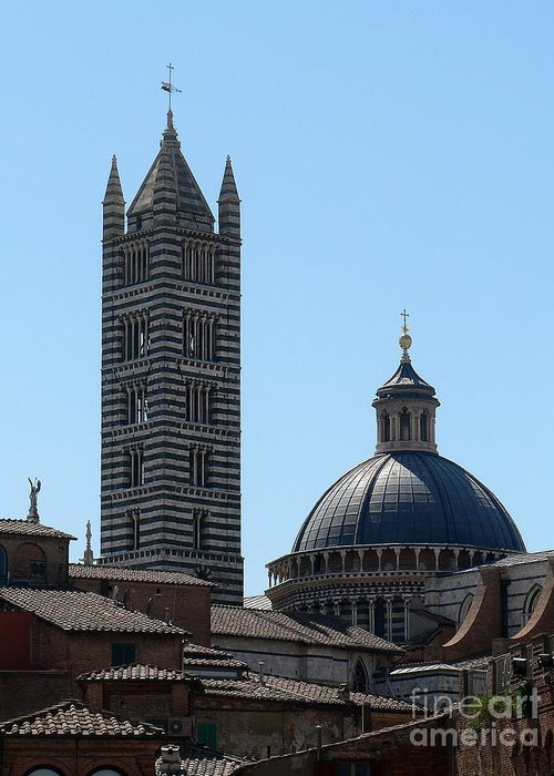 Duomo Greeting Card featuring the photograph Sienna's Duomo by Elizabeth Fontaine-Barr
