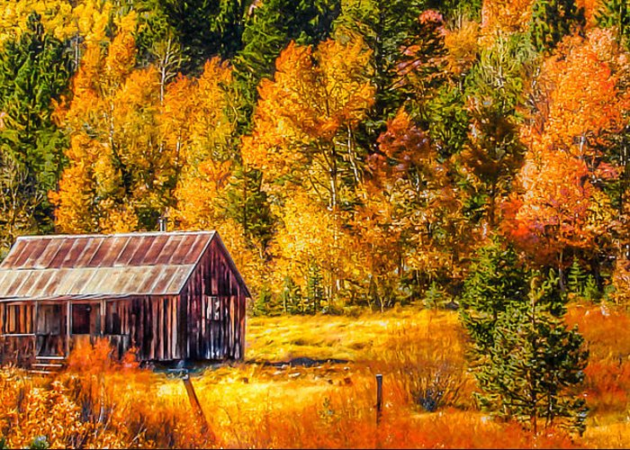 Sierra Nevada Aspen Fall Colors Greeting Card featuring the painting Sierra Nevada Aspen Fall Colors With Rustic Barn by Scott McGuire