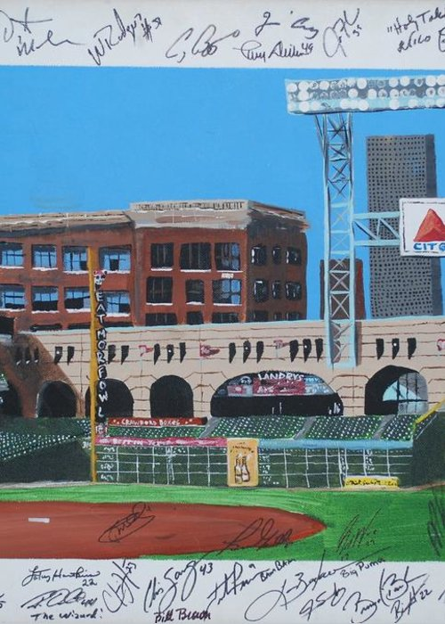Autographed Greeting Card featuring the painting Signed Minute Maid by Leo Artist
