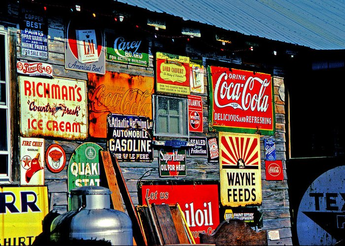 Antiques Greeting Card featuring the photograph Signs by Mike Flynn