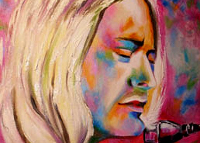 Kurt Cobain Greeting Card featuring the painting Silenced Song by Susi Franco