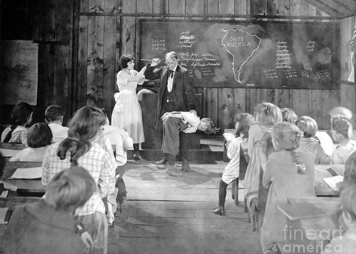 1920s Greeting Card featuring the photograph Silent Film Still: School by Granger