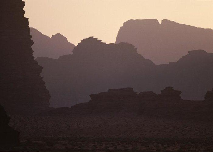 Asia Greeting Card featuring the photograph Silhouetted Cliffs In The Wadi Ramm by Jodi Cobb